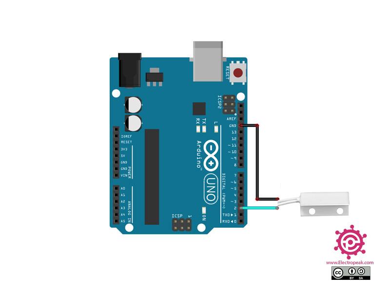 سیم بندی مدار اتصال MC38 به آردوینو