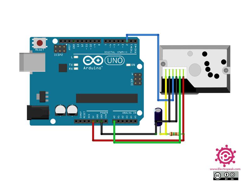 سیم بندی مدار اتصال GP2Y1010AU0F به آردوینو