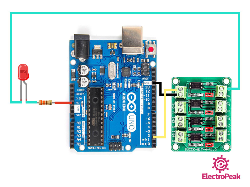 سیم بندی مدار اتصال PC817 به آردوینو