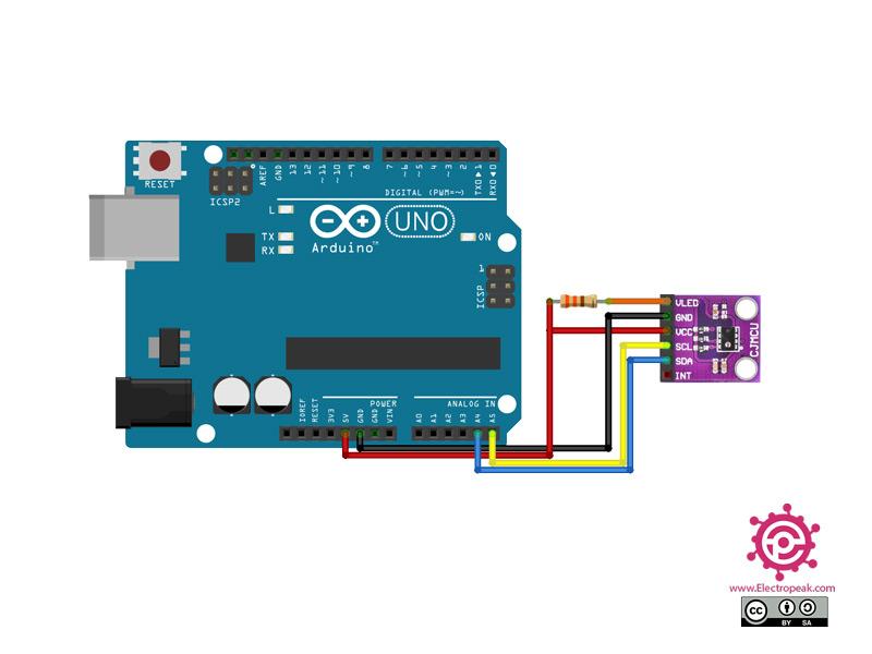 سیم بندی مدار اتصال AP3216 به آردوینو