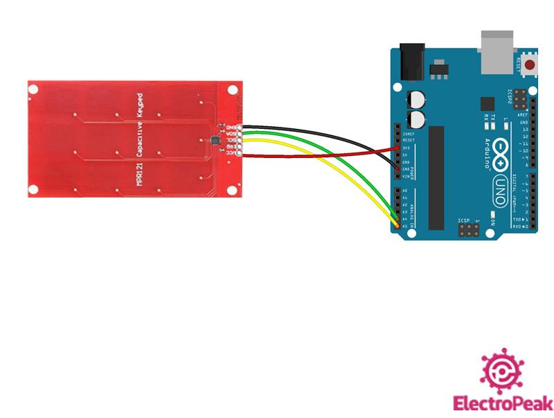 سیم بندی مدار اتصال MPR121 به آردوینو