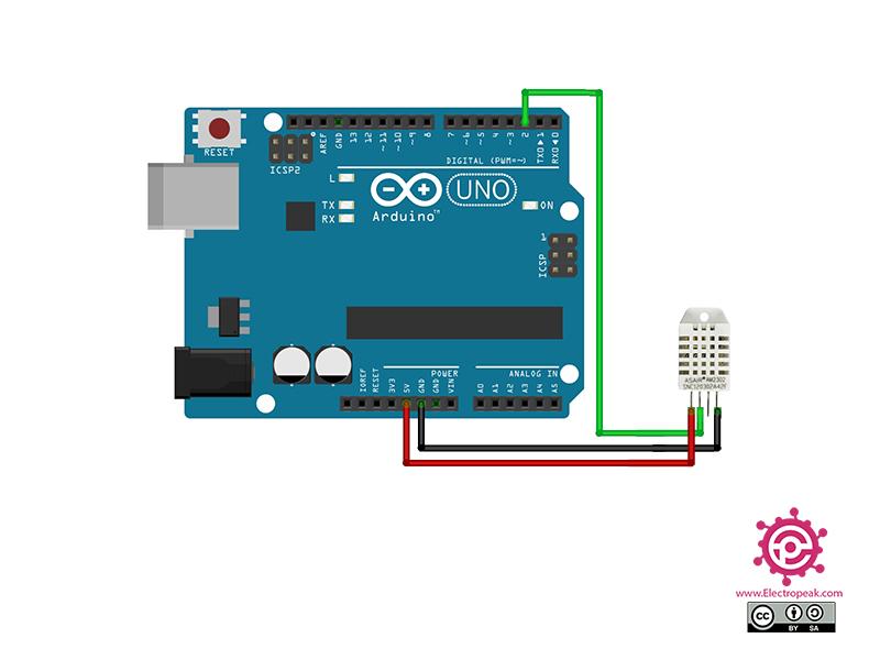 سیم بندی مدار اتصال DHT22 به آردوینو